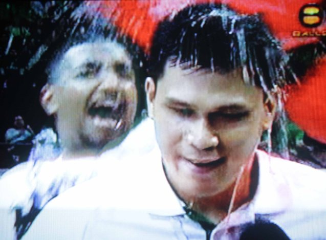Juno Sauler is emotionless even after the Championship win , until the Archers pour Gatorade over him.