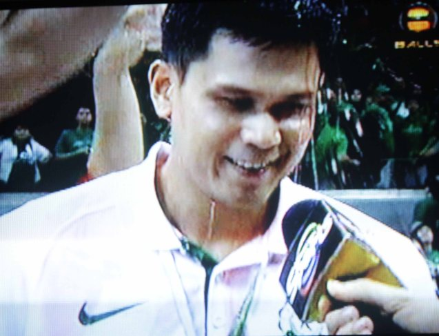Juno Sauler is emotionless even after the Championship win, until the Archers pour Gatorade over him.