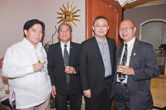 from left: Deputy Executive Sec. Teofilo S. Pilando, FDCP Exec Dir Teddy Granados, ON THE JOB Producer Dondon Monteverde and Phil. Film Export Service Office Exec Dir. Jose Miguel Dela Rosa. Photo was taken last October 24, 2013 at the official French Ambassador's residence in Makati. Photo by Jude Bautista
