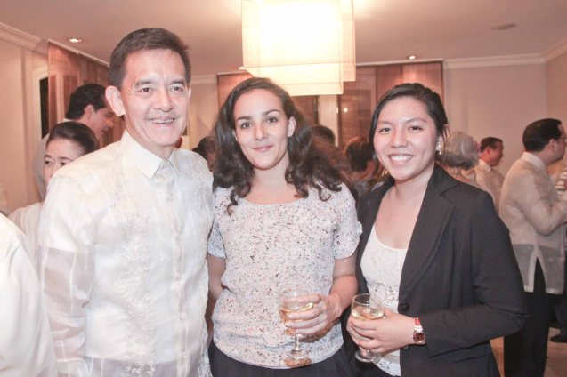 from left: Phil Star Columnist Philip Cu-Unjieng, French Cultural Attaché Ariane Tricaud and French Press Attaché Camille Conde. Photo was taken last October 24, 2013 at the official French Ambassador's residence in Makati. Photo by Jude Bautista