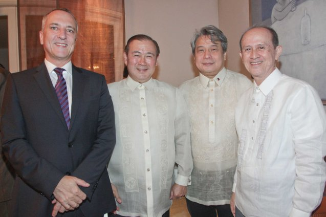 from left: French Cultural Counselor Michel Stanislas Villar, Teddy Boy Locsin, FDCP Chairman Briccio Santos and Tony Roces. Photo was taken last October 24, 2013 at the official French Ambassador's residence in Makati. Photo by Jude Bautista