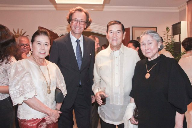 2nd from left Amb Gilles Garachon, from left Marixi and Alex Prieto and Rose Agustines. Photo was taken last October 24, 2013 at the official French Ambassador's residence in Makati. Photo by Jude Bautista