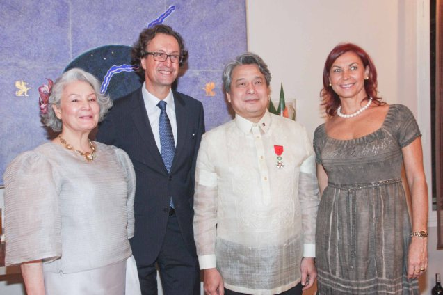 2nd and 3rd from left Amb Gilles Garachon, FDCP Chairman Briccio Santos with from left: Peachy Prieto and Mme Isabelle Garachon. Photo was taken last October 24, 2013 at the official French Ambassador's residence in Makati. Photo by Jude Bautista