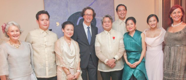 4th and 5th from left is Amb Gilles Garachon and Chevalier Briccio Santos From left: Peachy Prieto, Joey Tambunting, Bianca Santos, Leon Araneta, Karla Delgado, Kai Yulo and Mme. Isabelle Garachon. Photo was taken last October 24, 2013 at the official French Ambassador's residence in Makati. Photo by Jude Bautista