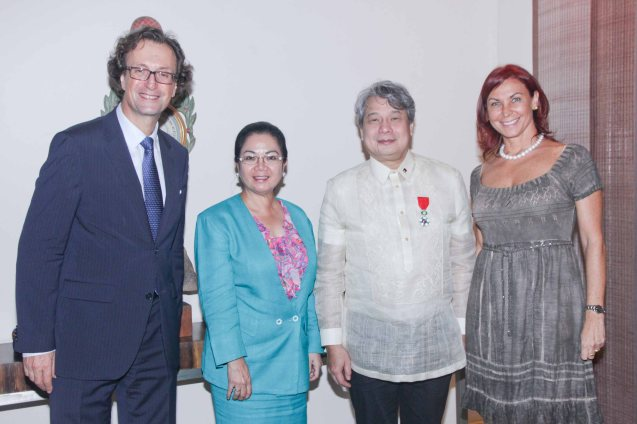 from left: French Amb Gilles Garachon, DFA Asst Sec. European Affairs Zeneida Angara-Collinson, Chevalier Briccio Santos and Madame Isabelle Garachon. Photo was taken last October 24, 2013 at the official French Ambassador's residence in Makati. Photo by Jude Bautista