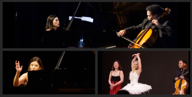 (top) Cecile Licad and cellist Francisco Llorin, (bottom left) Cecile and her signature right hand move at end of piece (bottom right) from left: Cecile Licad, Lisa Macuja Elizalde and cellist Francisco Llorin bow after the remarkable DYING SWAN (LE CARNAVAL DES ANUMAUX). THE LEGENDS AND THE CLASSICS ENCORE was held at the CCP last Oct 12, 2013. Photo by Jude Bautista