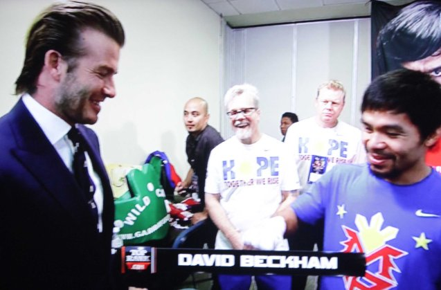 David Beckham visits Manny in his locker room before the fight.  They originally met in Manila when the L.A Galaxy played an exhibition game against the Askals and David became an instant fan.