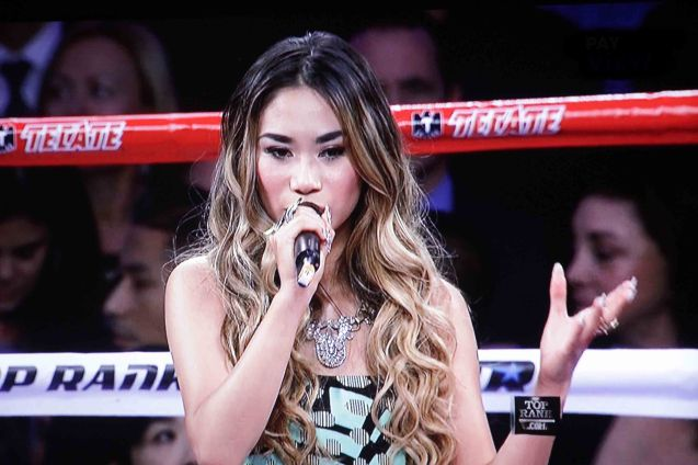 American Idol second placer Jessica Sanchez was the best possible choice to sing The Star Spangled Banner and Lupang Hinirang before the Pacquiao vs Rios bout at the Cotai Arena in Macau, China last November 24, 2013.