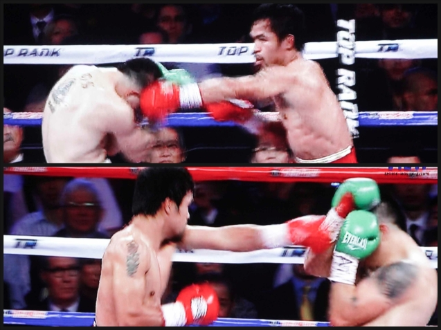 Manny Pacquiao lands left right combos on  Brandon Rios.