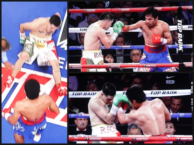 left: Rios slips and was NOT knocked down in the 1st rd but is overwhelmed by the fast punches of Pacquiao