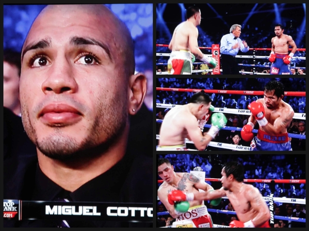 left: Puerto Rican contender Miguel Cotto watches Pacquiao dominate the younger Rios.