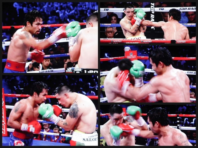 Pacquiao lands punches from different angles on Rios.