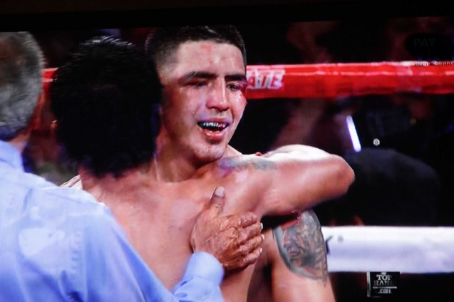 Pacquiao hugs Rios the way he always does with all of his opponents.