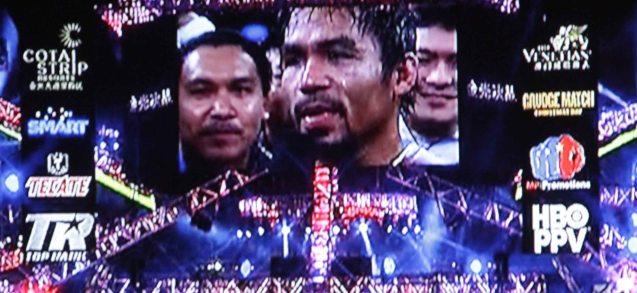 A shot of the giant screen in the Cotai Arena at the Venetian Macau last Nov 24, 2013.