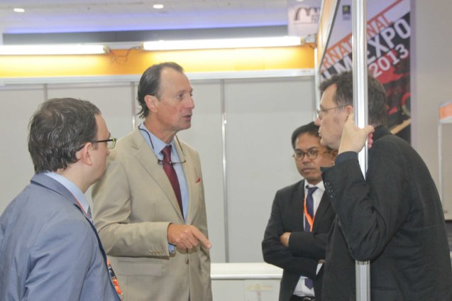 2nd from left: French Amb. Gilles Garachon from right Frank Priot-Film France Deputy Director COO, Martin Macalintal French Audio Visual Attaché (Phl) and Jeremy Segay French Audio Visual Attaché (Taiwan). Pic was taken at the International Film Expo last September 6, 2013. Mr. Priot was able to give a talk on the effects of new technology on the film industry. Photo by Jude Bautista
