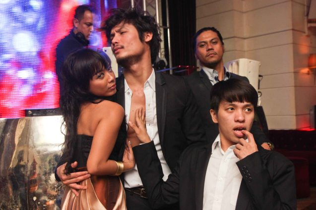 Theater people unwind at OPUS from left: Martha Comia, Jay Gonzaga, Gerald Napoles and Aaron Ching. They attended the ILO ILO premiere at New Port Performing Arts Theater, Resort's World Manila and later the after party in OPUS. Photo by Jude Bautista