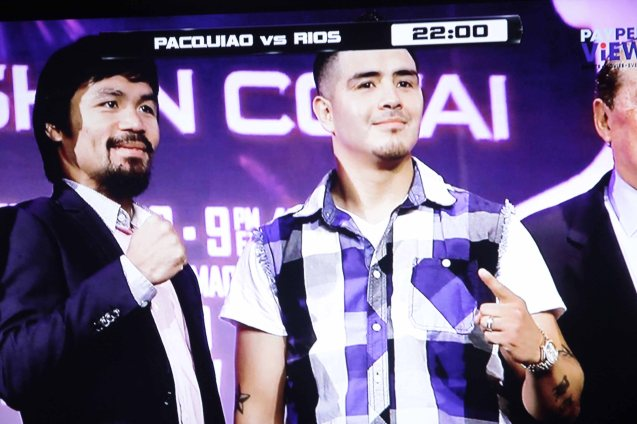 Manny And Brandon during the press con for the fight.