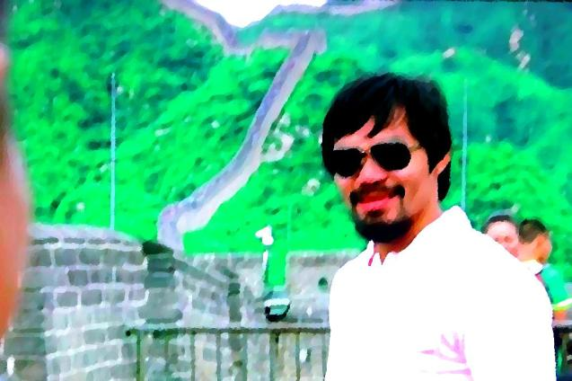 Its not just Filipinos but the whole of Asia who is proud of Manny Pacquiao. He posed at the Great Wall of China as a promo for the fight with Rios. Photo Illustration by Jude Bautista