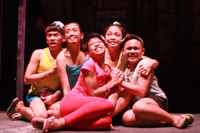 Maxie's gang from left: Nar (Aaron Ching ), (Francelle Fetalvero), Maxie (Jayvhot Galang), Monique (Teetin Villanueva) and Leslie (Nomer Limatog Jr.). Catch MAXIE THE MUSICAL at from Nov 9-Dec 8, 2013 at the PETA Theater Center. Photo By Jude Bautista