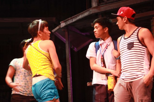 Nar (Aaron Ching) confronts Peter (Eo Deguzman) about being in the closet while hanging on to his boyfriend (Al Garcia). Catch MAXIE THE MUSICAL at from Nov 9-Dec 8, 2013 at the PETA Theater Center. Photo By Jude Bautista