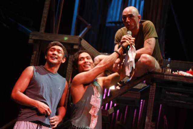 from left: Paco (Roeder Camañag), Bogs (Jay Gonzaga) and Boy (OJ Mariano)  videoke. Catch MAXIE THE MUSICAL at from Nov 9-Dec 8, 2013 at the PETA Theater Center. Photo By Jude Bautista