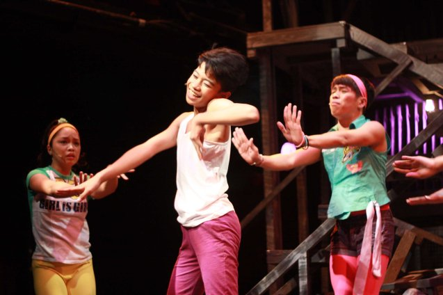 from left: Monique (Teetin Villanueva), Maxie (Jayvhot Galang) and Nar (Aaron Ching). Catch MAXIE THE MUSICAL at from Nov 9-Dec 8, 2013 at the PETA Theater Center. Photo By Jude Bautista