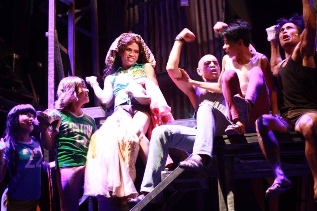 from left: Monique (Teetin Villanueva), Leslie (Nomer Limatog Jr.), Nar (Aaron Ching), Boy (OJ Mariano) cheer up Maxie (Jayvhot Galang), Bogs (Jay Gonzaga)-far right. Catch MAXIE THE MUSICAL from Nov 9-Dec 8, 2013 at the PETA Theater Center. Photo By Jude Bautista
