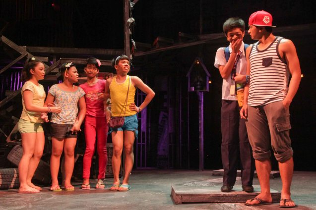 2nd from right: Peter (Eo Deguzman) shows off his boyfriend played by Al Garcia. Catch MAXIE THE MUSICAL at from Nov 9-Dec 8, 2013 at the PETA Theater Center. Photo By Jude Bautista