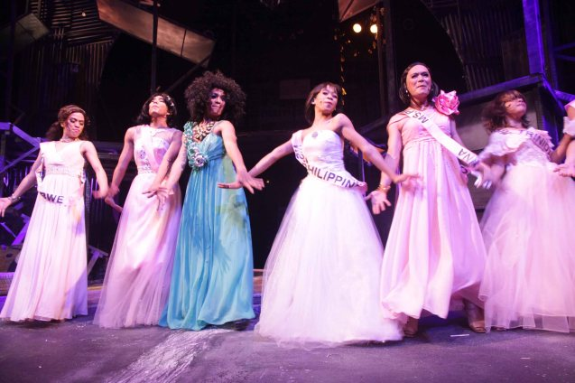 Maxie (Jayvhot Galang) is Ms Philippines in 'beaucon'. Catch MAXIE THE MUSICAL at from Nov 9-Dec 8, 2013 at the PETA Theater Center. Photo By Jude Bautista