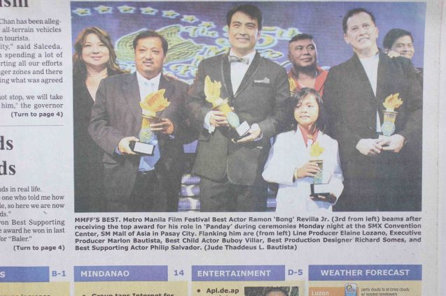 Sen. Bong was my front-page pic in Manila Bulletin December 30, 2009.
