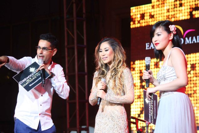from left: Sam YG, Jessica and Joyce Pring the Eastwood City New Year Countdown to 2014, December 31 at the Eastwood Mall Open Park. Photo by Jude Bautista