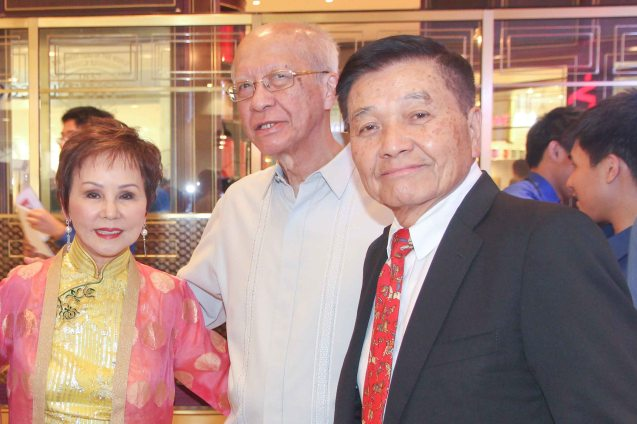 from right: Ricardo Leong founder of Ricardo Leong Center for Chinese Studies, Ateneo De Manila Univ. Pres. Fr. Bien Nebres and Dr. Rosita Leong benefactor- Leong Initiative for Ateneo Internationalization. Catch AFTERSHOCK and many other Chinese films for free at Shang Cineplex, Shang Rila Plaza mall via the SPRING FILM FESTIVAL from January 24 to February 2, 2014.