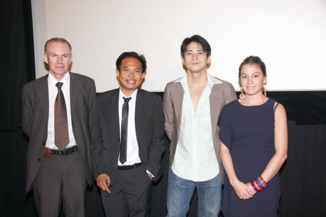 from left French Cultural Counselor Christian Merer, French Audiovisual Attaché Martin Macalintal, Robin Padilla and KLM Commercial Dir. Caroline David at Shang Cineplex, Shang Plaza during the opening of the French Film Fest last June 3, 2010.  Photo by Jude Bautista
