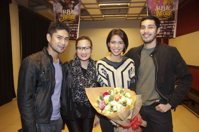 from right: Gian Magdangal, Aicelle Santos (Aileen), Ehra Madrigal and Rak f Aegis Musical dir. Myke Salomon. RAK OF AEGIS is a musical based on the hits of 90's band AEGIS. It will run from January 31 to March 9, 2014 at the PETA Theater Center. Photo by Jude Bautista