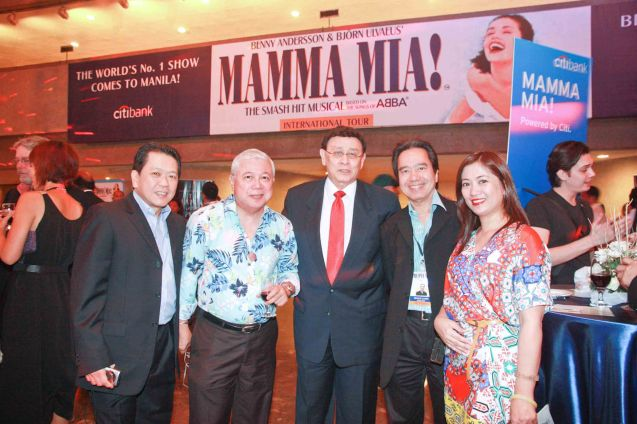 from right: SMART Mktg Services Mgr Ruth Taal, Radio High Chairman Francis Lumen, Columnist and Emcee Johnny Litton, GMA Special Assistant to the Pres. Rod Cornejo and Dr. Wilson Lim. Photo was taken during the 70's themed Celebrity night performance of Mamma Mia! the musical last Jan 26, 2012 at the CCP main theater. Photo by Jude Bautista