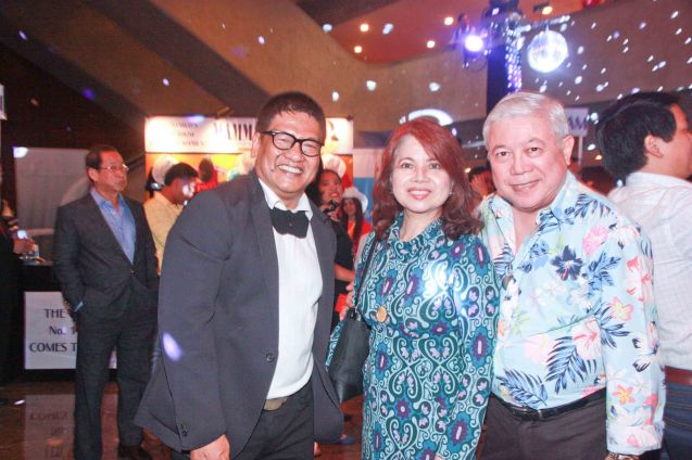 From right: GMA Special Assistant to the Pres. Rod Cornejo with wife Vangie and ABS CBN Corp Comm. Head Bong Osorio. Photo was taken during the 70's themed Celebrity night performance of Mamma Mia! the musical last Jan 26, 2012 at the CCP main theater. Photo by Jude Bautista