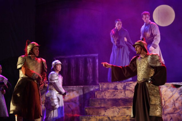 foreground left: Enrhil Seguino (Lord Khogatal) is accosted by Kuya Manzano (Baron Tegan) in the background is Stephanie Rees (Princess Kogajin) and David Bianco (Marco Polo). Catch MARCO POLO AN UNTOLD LOVE STORY at the Meralco Theater February 8, 2014 at 8pm, February 9 at 3pm. Photo by Jude Bautista.