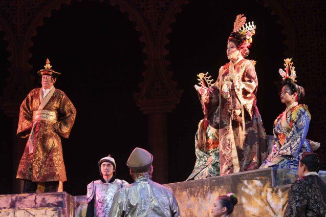 from left: George Yang as Kublai Khan and Pinky Marquez as Empress Wu. Catch MARCO POLO AN UNTOLD LOVE STORY at the Meralco Theater February 8, 2014 at 8pm, February 9 at 3pm. Photo by Jude Bautista.