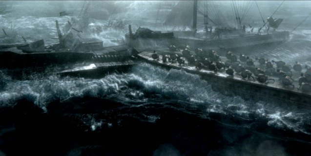 Smaller Greek boats ram into a bigger Persian ship. Photo from official website: http://www.300themovie.com/ 300 RISE OF AN EMPIRE opens on March 7, 2014 at Resort's World Manila, Lucky Chinatown Mall, Shang Rila Cineplex /East Wing and Eastwood Mall running now.