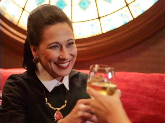 Cherie Gil is photographed in Salon De Ning, The Peninsula Manila toasting interviewer and cast mate Giselle Tongi. Cherie plays style doyenne Diana Vreeland in FULL GALLOP by MY OWN MANN Prod. running from March 14-23, 2014 at the Carlos P Romulo Auditorium, RCBC Plaza. Photo by Jude Bautista