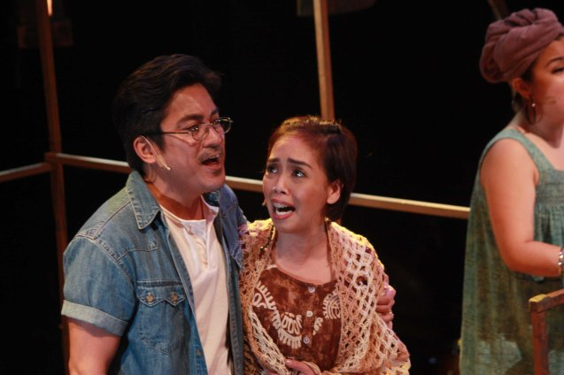 Kakai Bautista (Mercy) and Robert Seña (Kiel). RAK OF AEGIS is a musical based on the hits of 90's band AEGIS. It will run from January 31 to March 9, 2014 at the PETA Theater Center. Photo by Jude Bautista