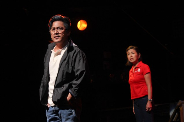 Robert Seña (Kiel) & Isay Alvarez Seña (Mary Jane). RAK OF AEGIS is a musical based on the hits of 90's band AEGIS. It will run from January 31 to March 9, 2014 at the PETA Theater Center. Photo by Jude Bautista