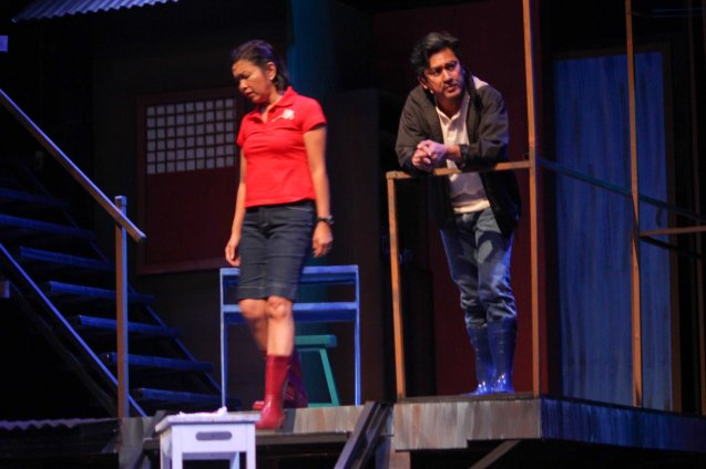 left: Isay Alvarez Seña (Mary Jane) & Robert Seña (Kiel). RAK OF AEGIS is a musical based on the hits of 90's band AEGIS. It will run from January 31 to March 9, 2014 at the PETA Theater Center. Photo by Jude Bautista