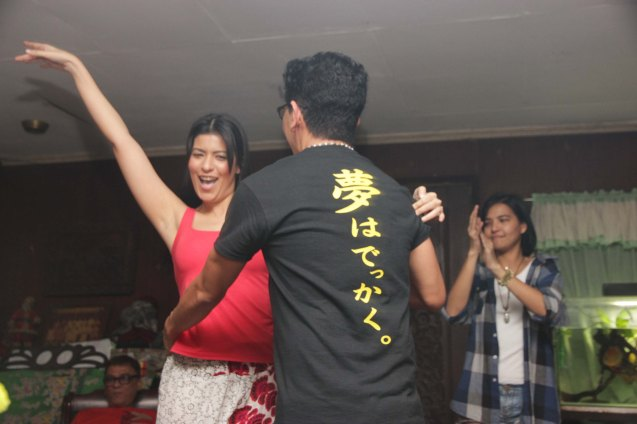 Kanakan Balintagos dances with the sexy Assunta De Rossi. Photo taken at Solito residence, Sampaloc,  Manila last March 4, 2014 by Jude Bautista.