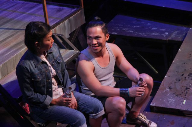 left: Isay Alvarez Seña (Mary Jane) and Poppert Bernadas (Kenny). RAK OF AEGIS is a musical based on the hits of 90's band AEGIS. It will run from January 31 to March 9, 2014 at the PETA Theater Center. Photo by Jude Bautista