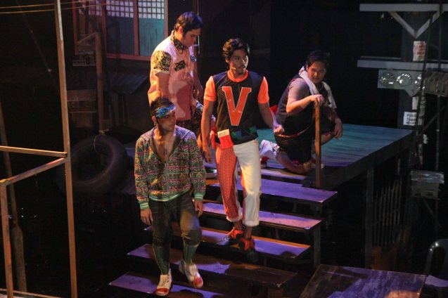 from left: Carlon Matobato (Ensemble), John Emmanoel Moran (Ensemble), (in V shirt) Jerald Napoles (Tolits) and Rafael Sudayan (Ensemble). RAK OF AEGIS is a musical based on the hits of 90's band AEGIS. It will run from January 31 to March 9, 2014 at the PETA Theater Center. Photo by Jude Bautista