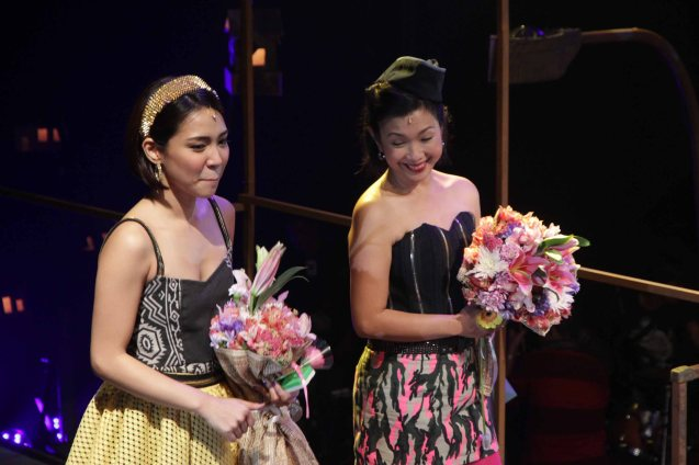 left Aicelle Santos (Aileen) and Isay Alvarez Seña (Mary Jane) in RAK OF AEGIS a musical based on the hits of 90's band AEGIS. It will run from January 31 to March 9, 2014 at the PETA Theater Center. Photo by Jude Bautista
