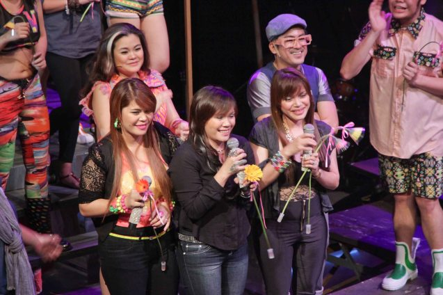 AEGIS vocalists also Rocked on stage from left: Ken, Juliet and Mercy Sunot. RAK OF AEGIS is a musical based on the hits of 90's band AEGIS. It will run from January 31 to March 9, 2014 at the PETA Theater Center. Photo by Jude Bautista