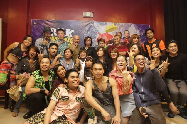 Cast surrounds AEGIS band (center) on opening night. RAK OF AEGIS is a musical based on their hits. It will run from January 31 to March 9, 2014 at the PETA Theater Center. Photo by Jude Bautista