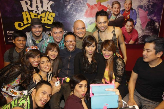 Cast with AEGIS (center). RAK OF AEGIS is a musical based on the hits of 90's band AEGIS. It will run from January 31 to March 9, 2014 at the PETA Theater Center. Photo by Jude Bautista